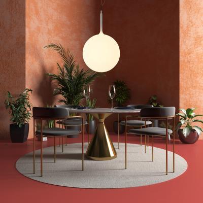 现代轻奢餐桌 吧椅 植物组合
