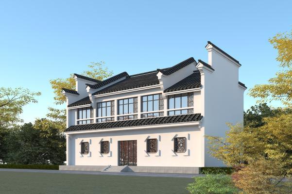 中式酒店 青瓦白墙马头墙 徽派建筑