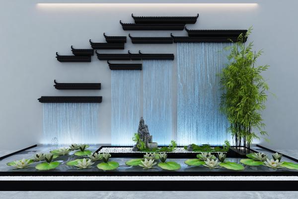 新中式景�^水景