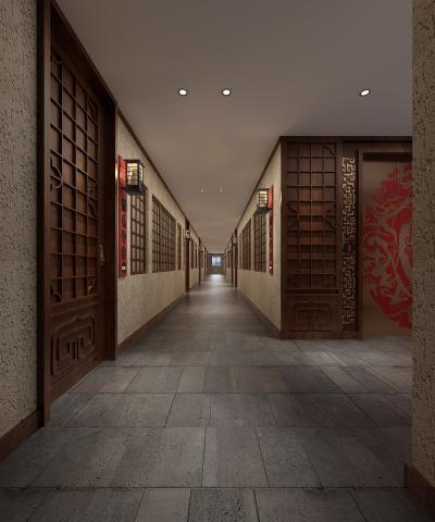 传统中式酒店过道