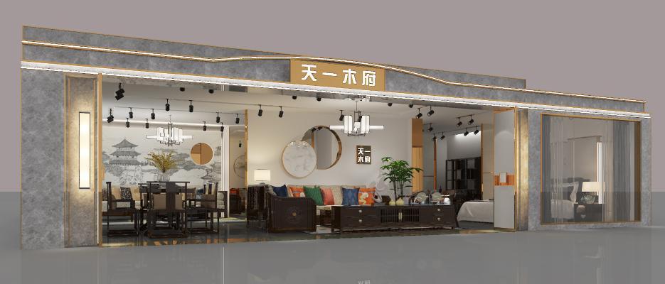 新中式家具展厅 吊灯 挂画