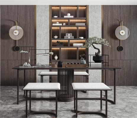 新中式泡茶桌椅 办公桌椅 书柜