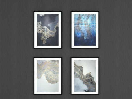 新中式抽象掛畫 畫框