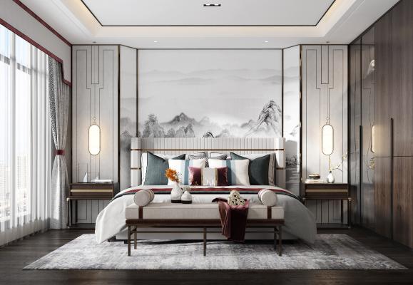 新中式卧室 床组合 床头柜 衣柜 吊灯 台灯 床尾凳 装饰品
