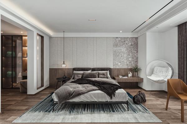 现代主卧室 双人床 衣柜