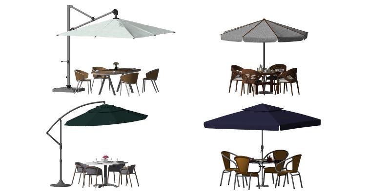 现代遮阳伞 阳伞 藤椅
