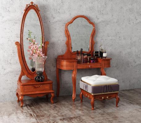 欧式古典梳妆台 化妆镜 换衣镜