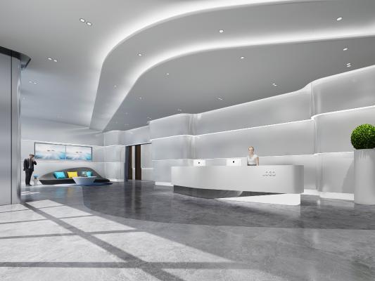 现代前台 接待大厅 沙发