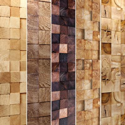 现代实木拼块背景墙组合