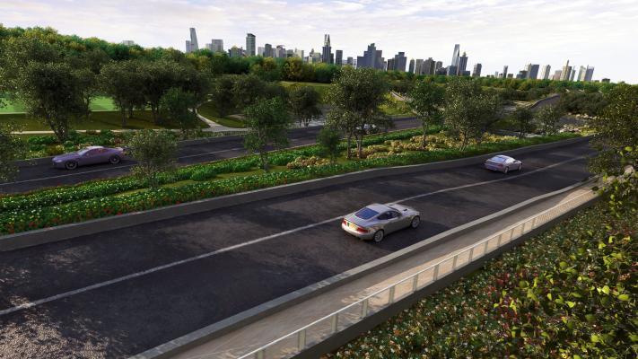 现代公路鸟瞰规划 公路景观
