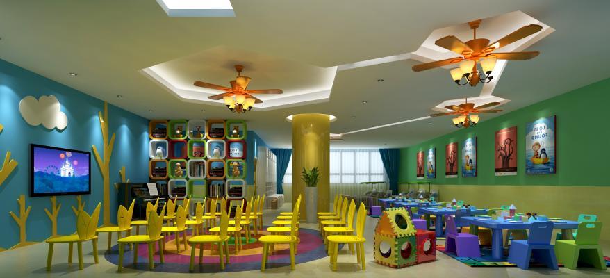 幼儿园教室桌椅装饰柜吊灯组合