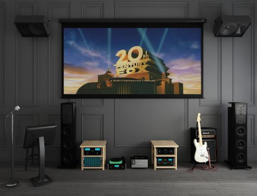 现代投影幕布音响组合 投影屏幕 碟机投影 家庭音响 箱型音响