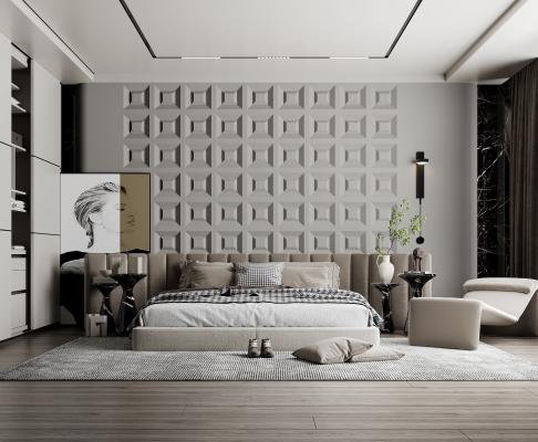 现代卧室 布艺双人床 壁灯 休闲躺椅 装饰画 花瓶花艺 大理石边几
