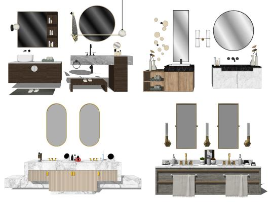 现代风格浴室柜 洗漱台