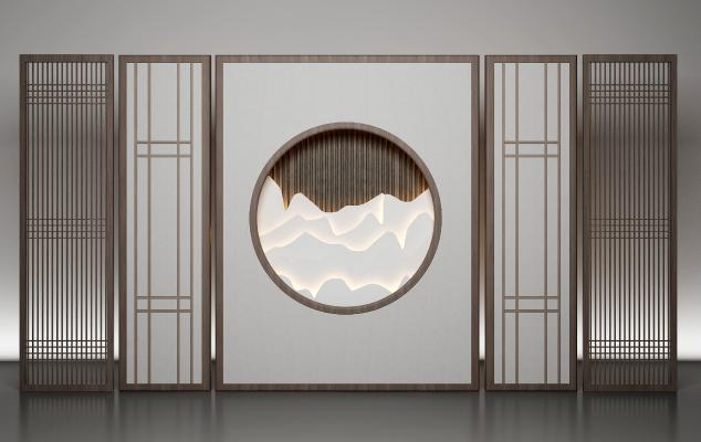 新中式花格屏风 隔断 背景墙