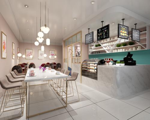 现代轻奢奶茶店 餐桌椅
