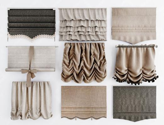 現代羅馬卷簾 布藝窗簾