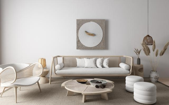 日式客厅 沙发茶几组合
