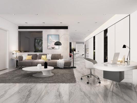 现代极简客餐厅 开放厨房 沙发