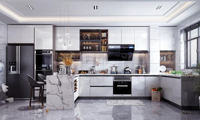现代风格吧台厨房橱柜 厨房电器 厨房用品 吧台椅 装饰品