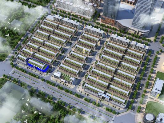 现代办公楼 鸟瞰规划 工厂 商业 住宅 道路景观