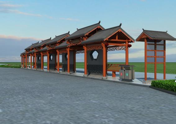 新中式仿古公交站牌 公交站 公交站台