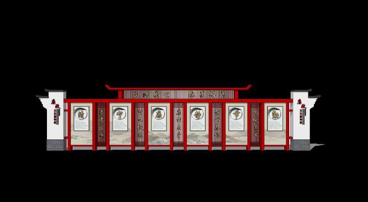 中式宣传栏 宣传牌 公告栏 文化栏