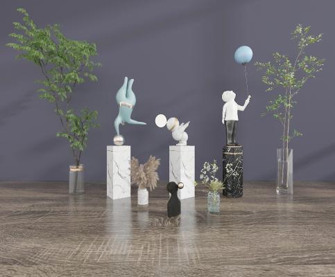 現代雕塑擺件組合 花瓶 綠植