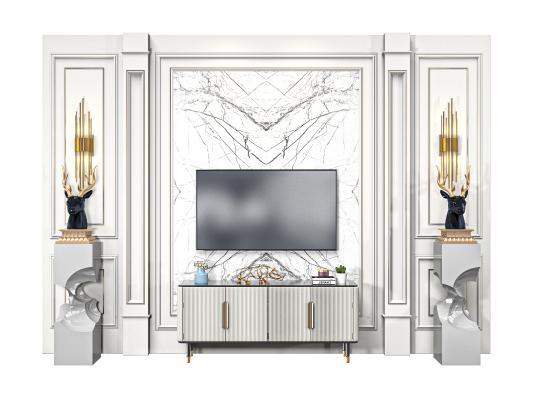 简欧电视背景柜 电视背景墙 电视机