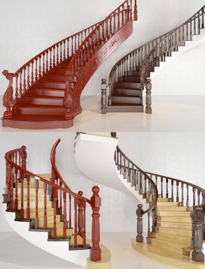 中式实木楼梯组合 楼梯 实木楼梯