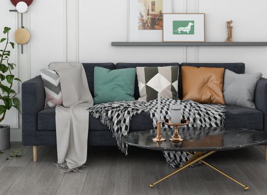北欧风格客厅 沙发茶几组合