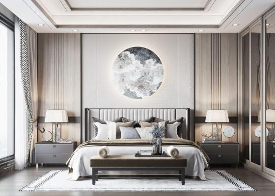 新中式轻奢卧室 床 衣柜