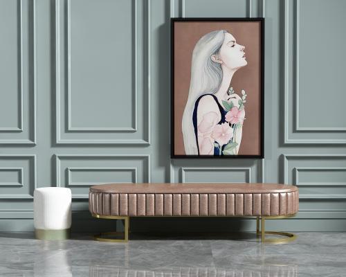 欧式简约沙发凳组合