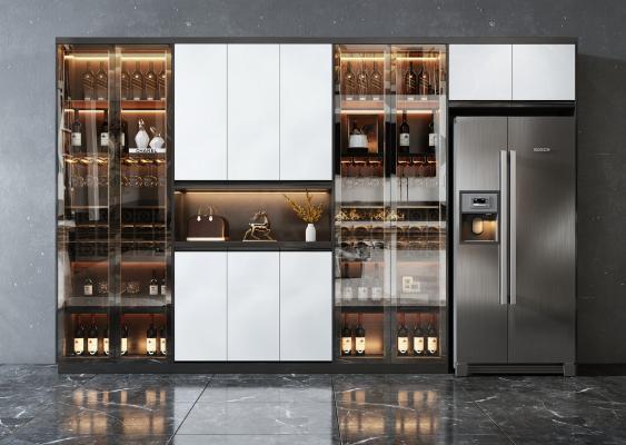 现代风格酒柜 冰箱柜 装饰品 摆件