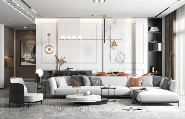 现代风格客餐厅 沙发 餐桌椅