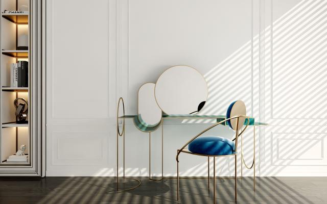 现代梳妆台 椅子组合
