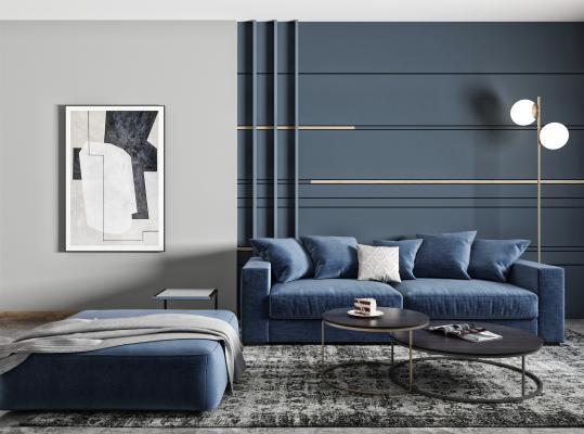 现代双人沙发 蓝色布艺沙发 矮凳