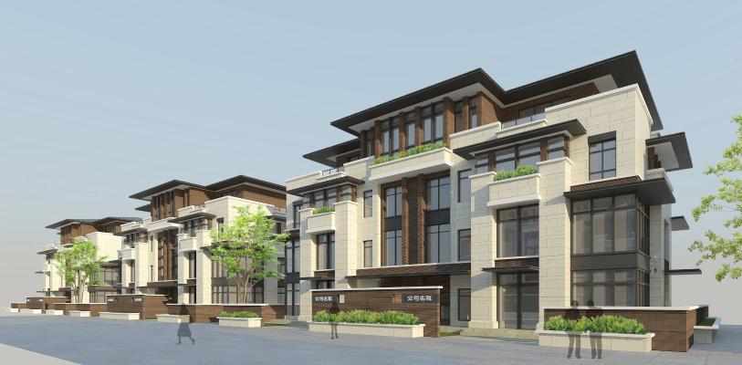 新中式别墅建筑景观