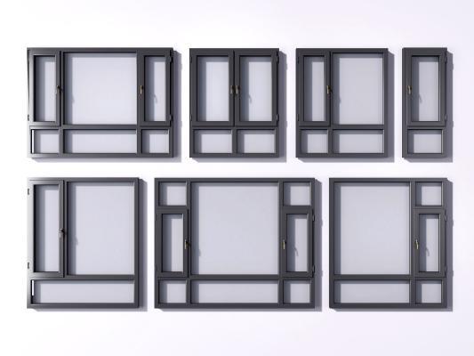 现代窗户 铝合金窗户 窗框
