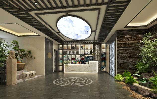 新中式风格酒店大堂 过道水景