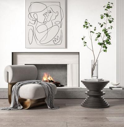 现代单椅 边几壁炉组合