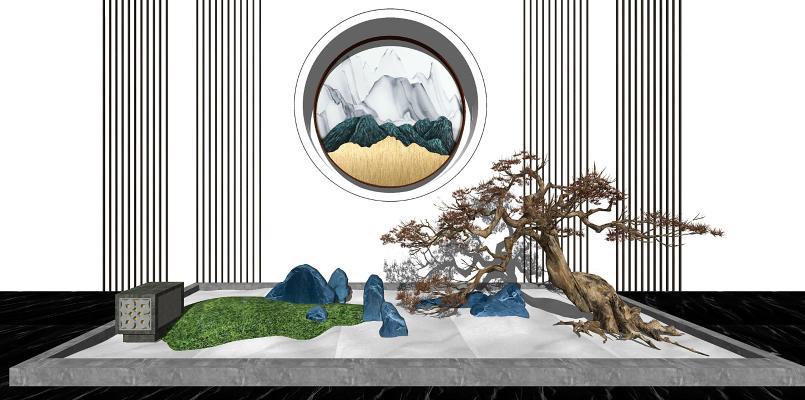 新中式园艺小品背景墙