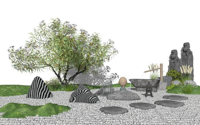新中式石头假山 枯山石 景观树