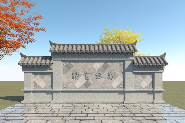 中式照壁 三滴水照壁 影壁墙