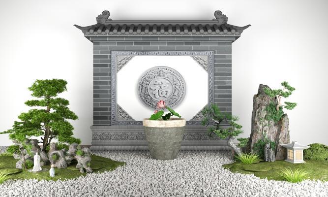新中式景墙景观小品