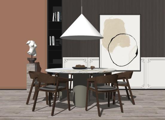 现代餐厅 圆形餐桌 雕塑