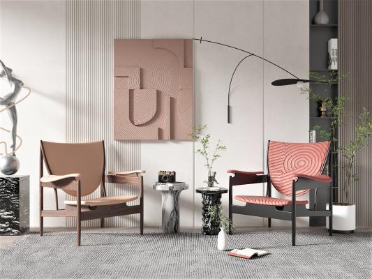 现代休闲椅 饰品摆件
