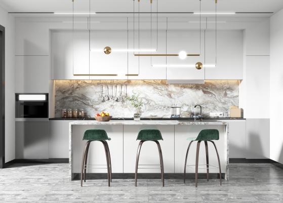 现代厨房 吧台 吧椅