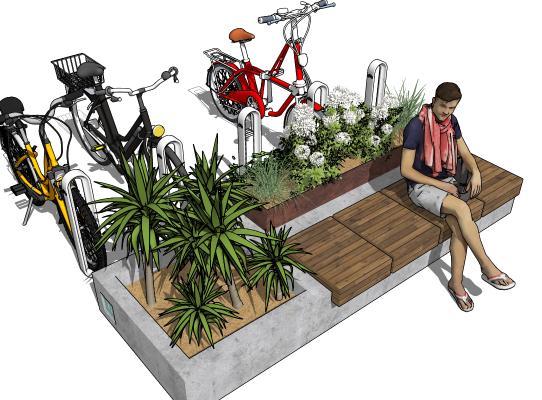 现代公共长椅 绿植 自行车