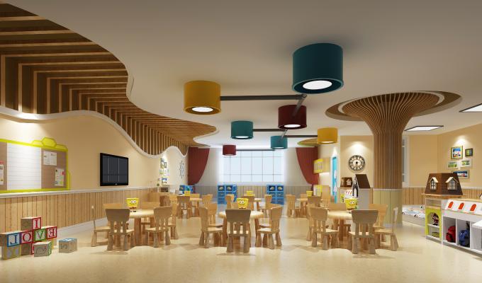 现代幼儿园 教室 吊灯 桌椅